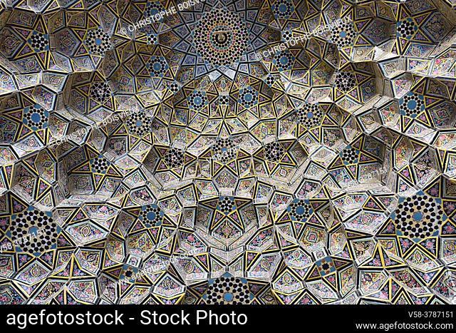 Iran, Shiraz, Nasir-ol-Molk mosque (Pink mosque), Elaborately decorated muqarnas