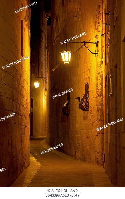 Street illuminated at night, Mdina, Malta