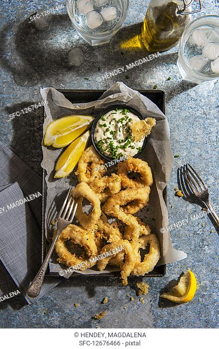 Squid in tempura bayyer with chive mayo and lemon