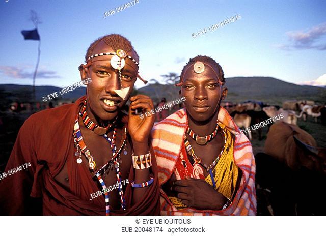 Maasai moran at an initiation ceremony into manhood