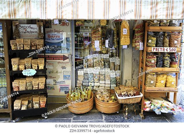 Souvenir shop in Orta San Giulio, Orta, Novara, Piedmont, Italy
