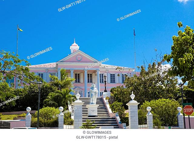 Statue in front of a building, Christopher Columbus Statue, Government House, Nassau, Bahamas