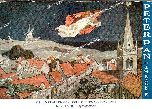 promotional postcard for Peter Pan by J. M. Barrie. First produced at the Duke of York's Theatre, 27th December 1904. Artist: John Hassall. J. A. E