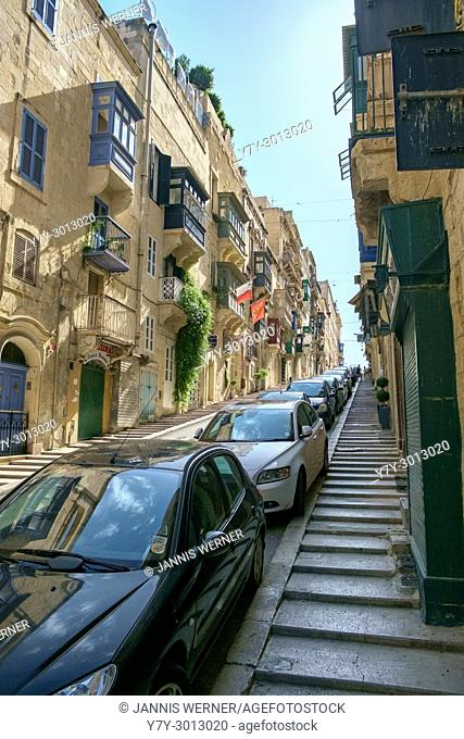 Impressions from the narrow streets of Valletta, Malta