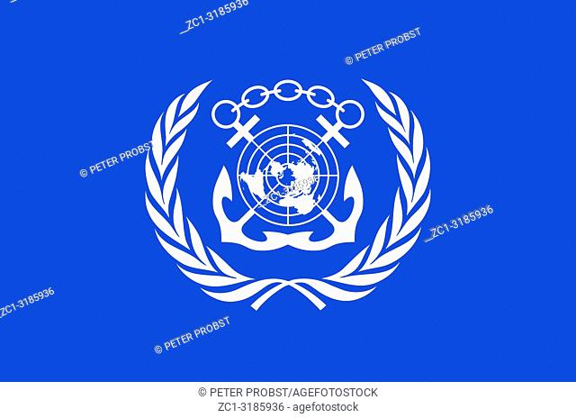 Flag with coat of arms of the International Maritime Organization IMO with seat in London