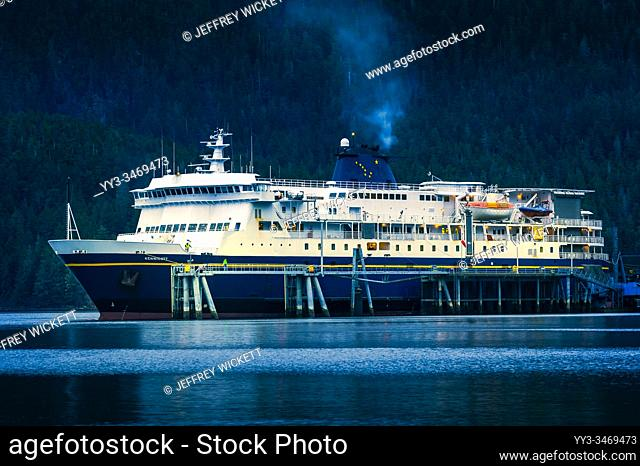 The M/V Kennicott docked at the Sitka Terminal. Sitka, Alaska, USA. The Alaska Marine Highway System operates along the south-central coast of the state