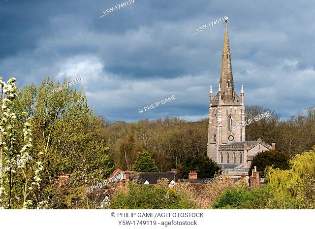 Village church at Ombersley, Worcestershire, in the English Midlands, rebuilt in Victorian times