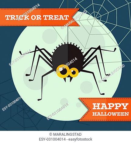 Vector flat halloween spider background. Eps10