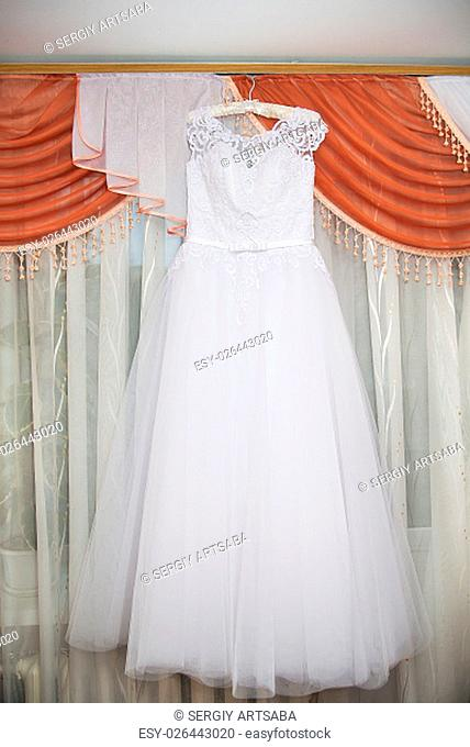 white wedding dress. A Traditional bride decoration