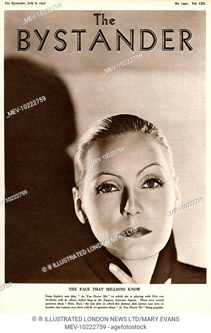GRETA GARBO advertising her film 'As You Desire Me.' Greta Garbo was born in Stockholm and was 'spotted' whilst studying at the Royal Theatre Dramatic School by...