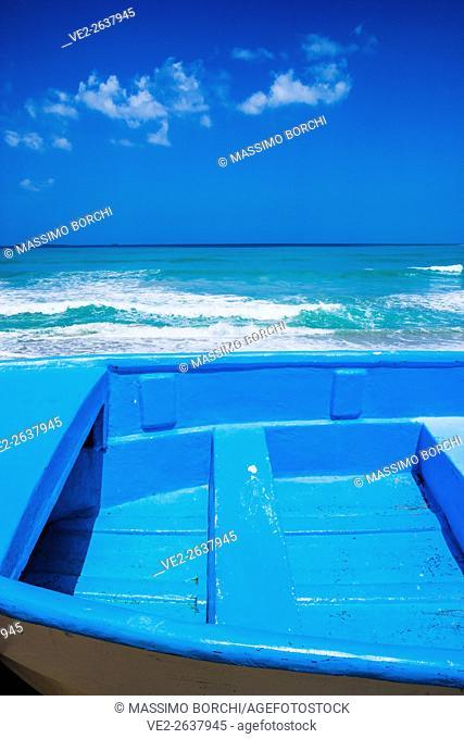 Dominican Republic, Las Terrenas . Samana Peninsula - Playa (beach) Bonita, a boat