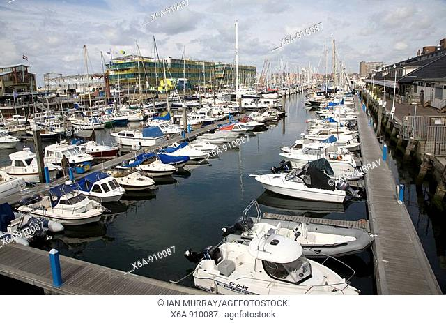 Leisure boats Scheveningen harbour Holland