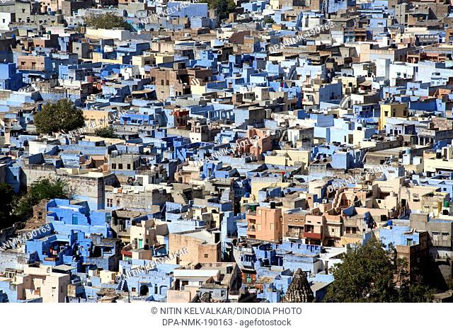 Blue wash houses Mehrangarh Fort Jodhpur Rajasthan India Asia