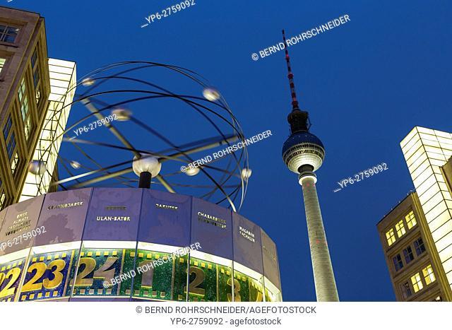 world clock and television tower at night, Alexanderplatz, Berlin, Germany