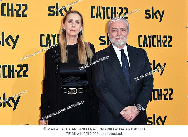 Aurelio De Laurentiis with wife Jacqueline Baudit during the Red carpet for the Premiere of film tv Catch-22, Rome, ITALY-13-05-2019