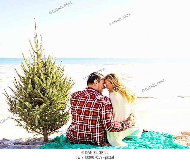 Loving couple sitting on beach with tree