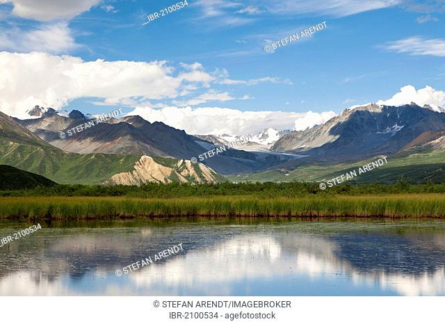 Water reflections on a high plateau in the Alaska Range, Alaska, USA