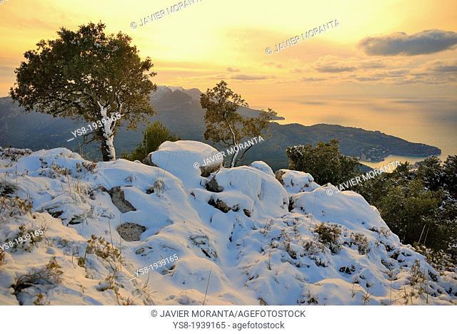 Snowy landscape of the Serra de Tramuntana, Majorca, Balearic Islands, Spain