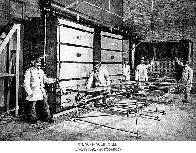 First public institution for disinfection in Berlin, Berlin, Germany, historical illustration, wood engraving, about 1888