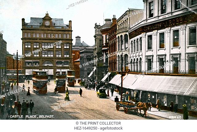 Castle Place, Belfast, early 20th century. From Valentine's Colourtone series of postcards