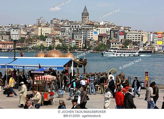 Restaurants, snack bars offering fish at Galat Bridge on the Golden Horn, Istanbul, Turkey