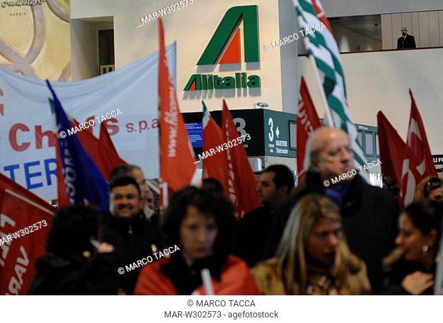 milano-malpensa airport,19-02-2008,workers strike,photo marco tacca/markanews