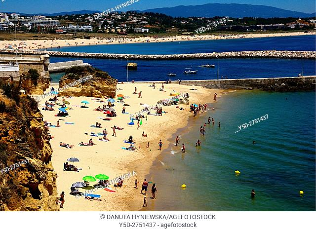 Europe, Atlantic Ocean, Portugal, Southern Portugal , Algarve region , Faro district , Lagos, panoramic view of coast in city center