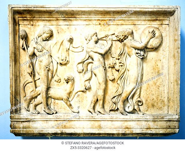 Marble relief of a maenad and two satyrs in a Dionysiac procession. Roman about ad 100. from the Villa Quintiliana on the Appian way. south of Rome