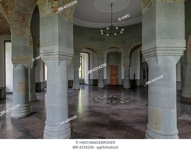 Obergruppenführersaal, SS Generals' Hall with a Black Sun wheel mosaic embedded in the floor, Wewelsburg castle, 1934-45 cult-site of the SS under Himmler