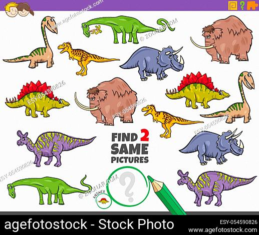 Cartoon Illustration of Finding Two Same Pictures Educational Game for Children with Funny Dinosaurs and Prehistoric Animal Characters