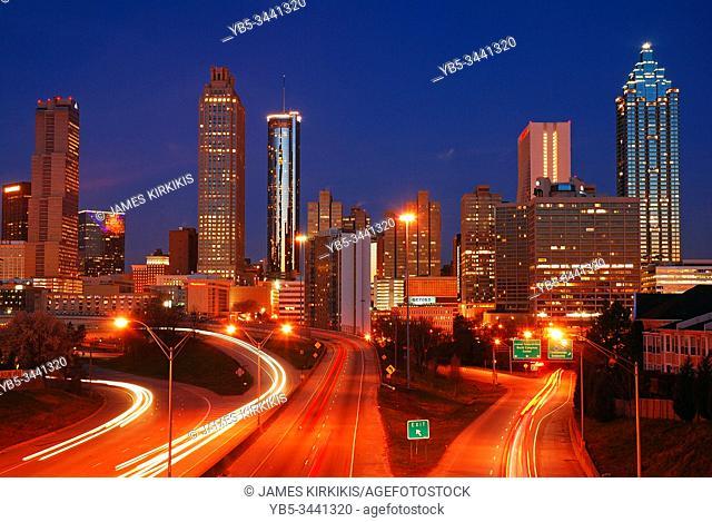 Traffic patterns emerge during rush hour in Atlanta