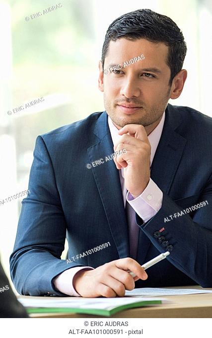 Businessman consulting client
