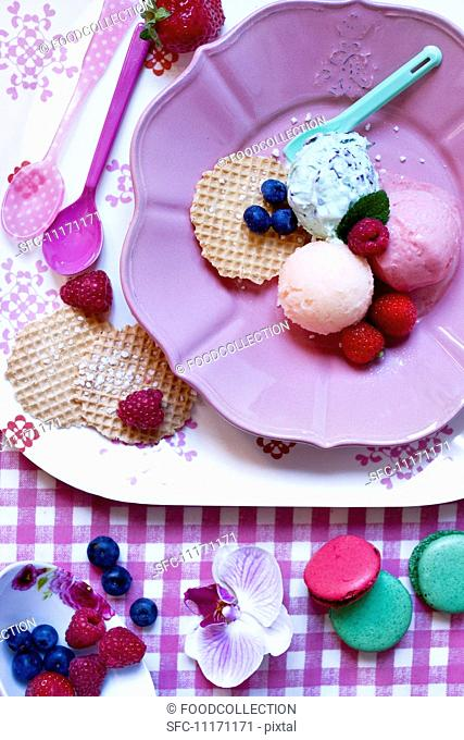 Scoops of fresh peppermint, melon and strawberry ice cream