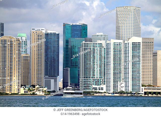 Florida, Miami, city downtown skyline, Biscayne Bay, Intracoastal Waterway, water, waterfront, office, condominium, buildings, high-rise