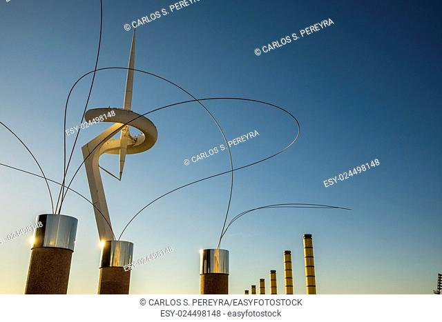 Calatrava Tower in Olympic Park of Monjuic in Barcelona Catalonia Spain