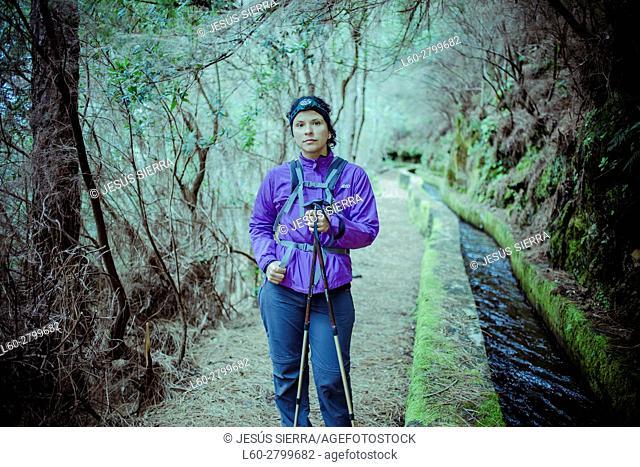Girl hiker in La Palma, Canary Islands, Spain