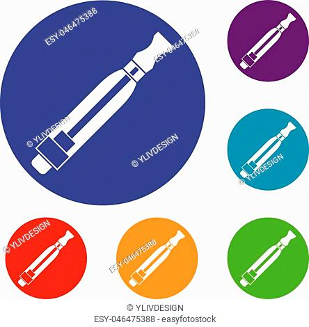 Clearomizer icons set in flat circle reb, blue and green color for web