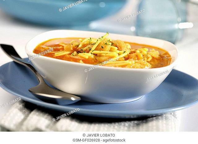 Noodles soup with cod