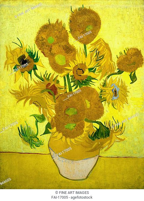 The Sunflowers. Gogh, Vincent, van (1853-1890). Oil on canvas. Postimpressionism. 1889. Van Gogh Museum, Amsterdam. 73x95. Painting