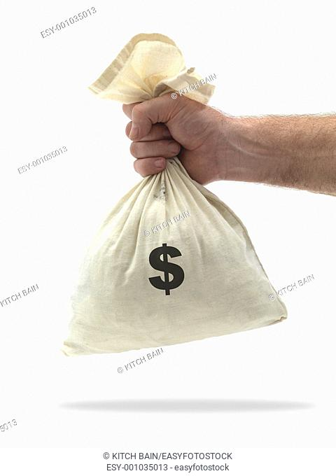 A calaco money bag isolated against a white background