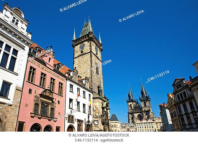 Astronomical clock on the Old Town City Hall and Tyn church. Staromestske Namesti .Old Town Square. Prague. Czech Republic