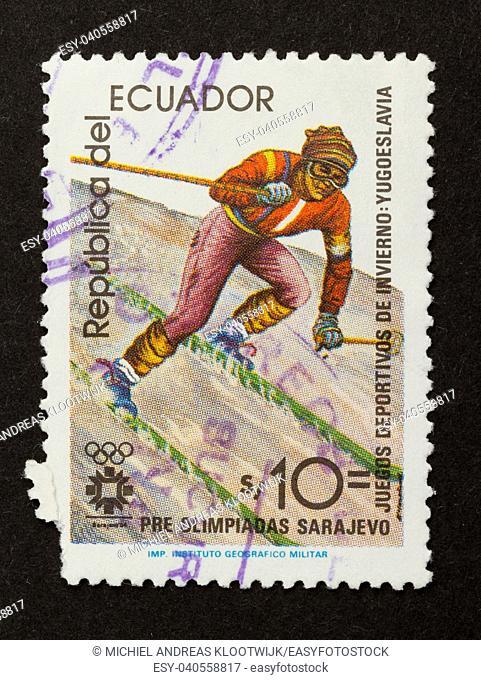 ECUADOR - CIRCA 1980: Stamp printed in Ecuador shows a skier, circa 1980