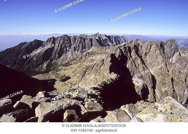 The skyline of High Tatras seen from the summit of Rysy, the peak on Slovak - Polish border