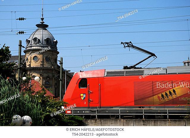 Electric locomotive of the Deutsche Bahn railway station of constanc