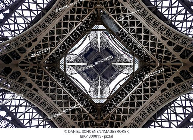 Eiffel Tower, seen from beneath, Paris, Ile-de-France, France