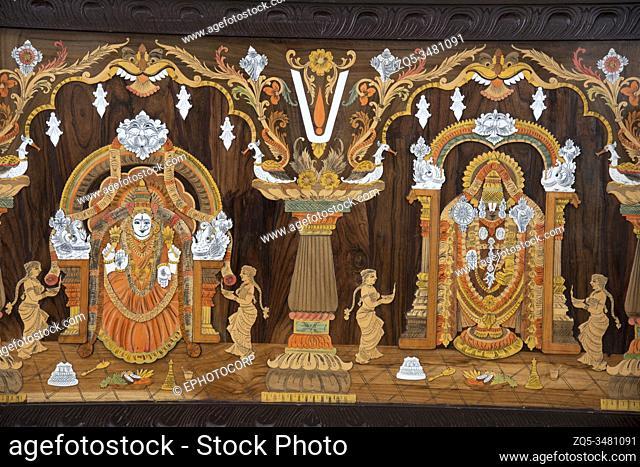 Wooden decorative display pannels depicting Hindu Gods, near Ranganathaswamy Temple, Srirangapatna, Karnataka, India