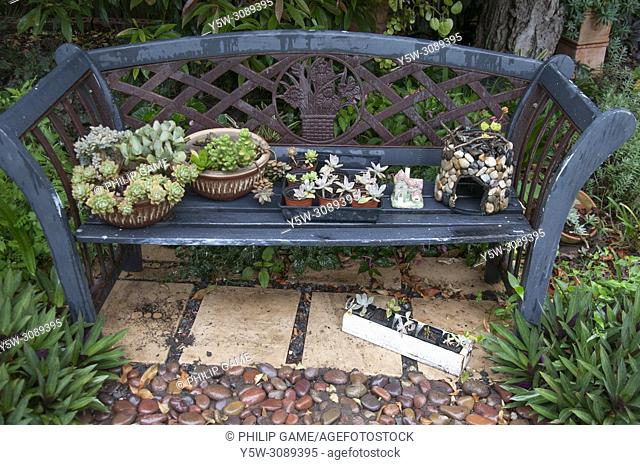 Garden seat in an inner-city Brisbane home, Queensland, Australia