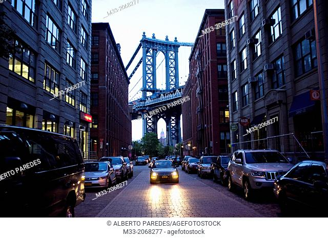 Manhattan Bridge and Empire State from DUMBO, Brooklyn, New York City, USA