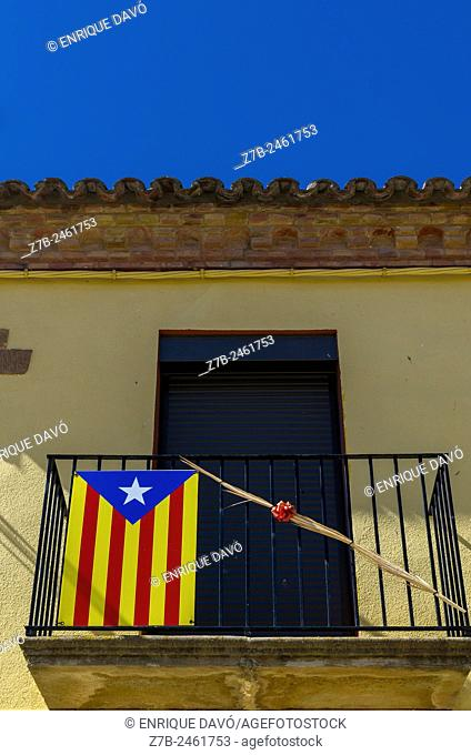 Down view of Catalonia independence vindication in a balcony of Sentiu of Sio, Lerida province, Spain