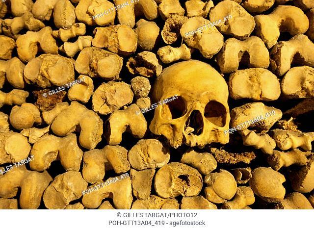 France, ile de france, paris 14e arrondissement, place denfert rochereau, catacombes, ossements, cranes, galerie, souterrain, Photo Gilles Targat